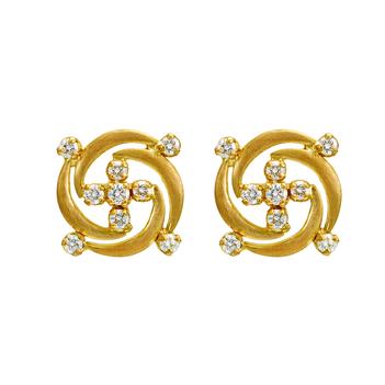 Groovy 18K Gold and Diamond Stud Earrings