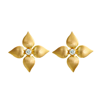 Elementary Gold and Diamond Stud Earrings