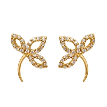 Leaf Stalk Diamond 18K Gold Stud Earrings