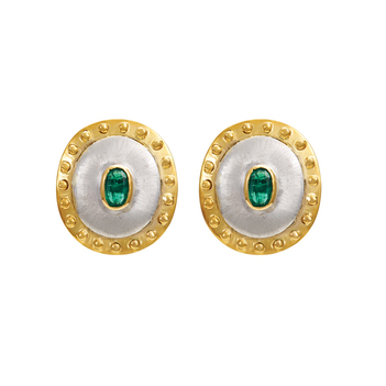 Rustic 18K Gold and Silver Emerald Stud Earrings