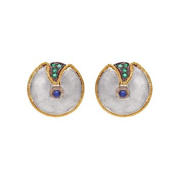 Bold Silver and 18K Gold Studs with Saphhires and Emeralds