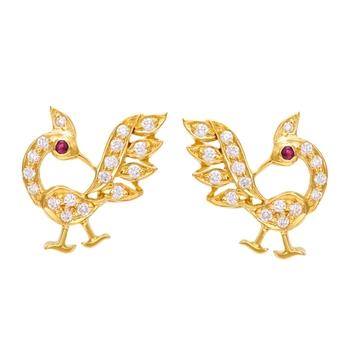 Enchanting Diamond Peacock 18K Gold Stud Earrings