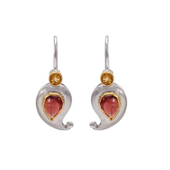 Pleasing Garnet and Citrine Paisley Drop Earrings