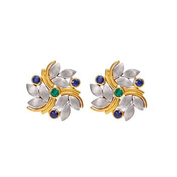 Spectacular Silver and 18K Gold Stud Earrings