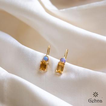 Stark Opal and Golden Topaz Drop Earrings