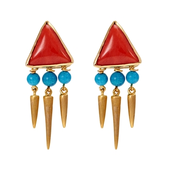 Tribal Coral and Turquoise Danglers