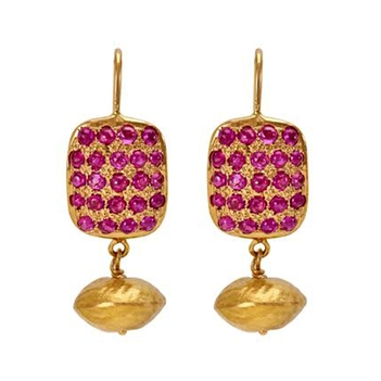 Unconventional Ruby and Gold Danglers
