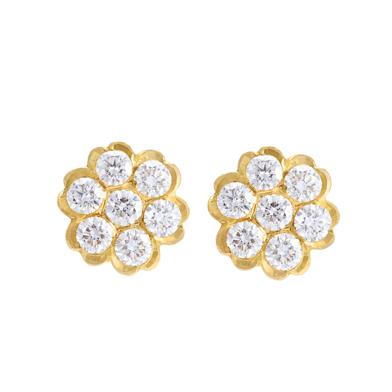 Clic South Indian Diamond 22k Gold Stud Earrings
