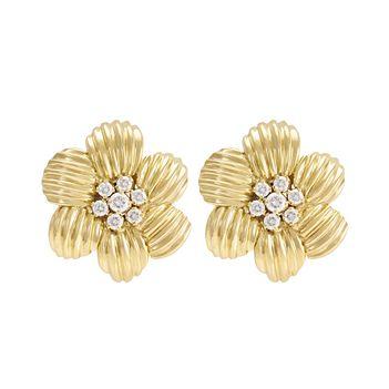 Diamond 18K Gold Stud Earrings with a Twist