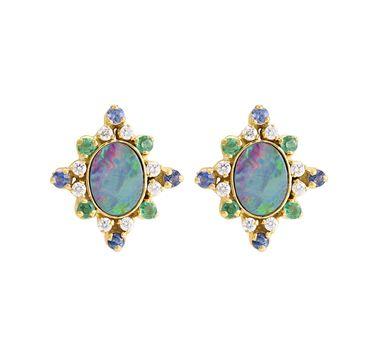 Opal Magic 18K Gold Stud Earrings