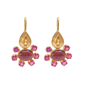 Whimsical Ruby, Garnet, Citrine Gold Drops