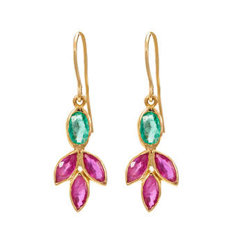 Radiant 18K Gold Ruby and Emerald Dangler Earrings