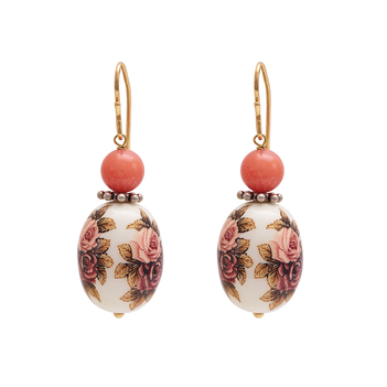 Winsome Pearl and Coral Danglers
