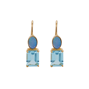 Ravishing Opal & Blue Topaz Drop Earrings