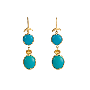 Elegant Turquoise &Yellow Sapphire Gold Earrings