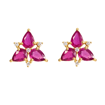 Vivid Ruby and Diamond 18K Gold Stud Earrings