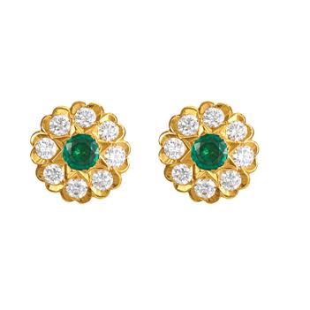 Vintage Diamond & Emerald 22K Gold Stud Earrings