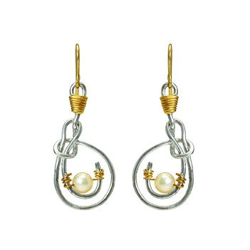Beguiling Pearl , Gold & Silver Earrings