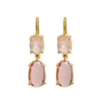 Subtle Rose Quartz  & Pink Sapphire Gold Earrings