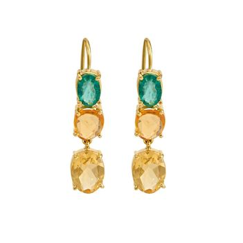 Blazing Orange Sapphire , Citrine & Emerald Gold Earrings