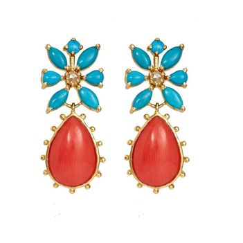 Exemplary Turquoise , Coral, & Rose-cut Diamond Gold Earrings