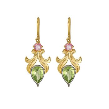 Aesthetic Peridot & Pink Sapphire Gold Earrings