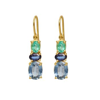 Scintillating Blue Sapphire, Topaz & Emerald Gold Drop Earrings