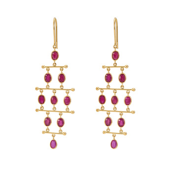 Offbeat Ruby 18K Gold Dangler Earrings