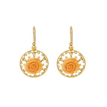 Aesthetic Carved Coral Gold Drop Earrings