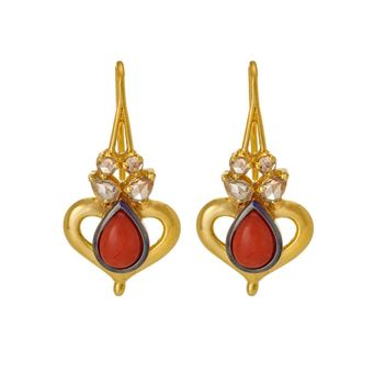 Ornate Coral and Rose-cut Diamond Gold Danglers