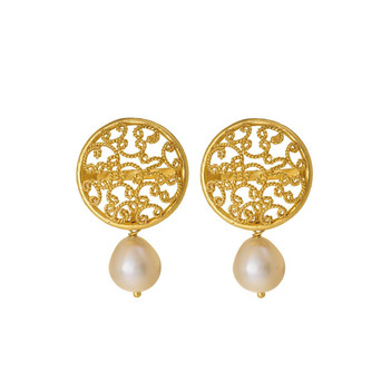 Intricate Pearl & Gold Stud Earrings