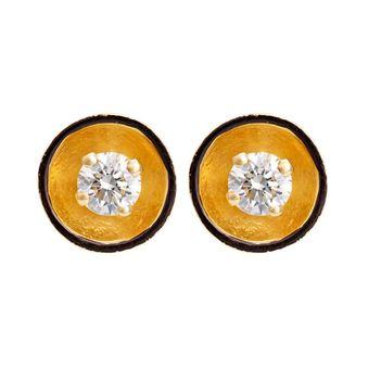 Dynamic Diamond and 18K Gold Stud Earrings