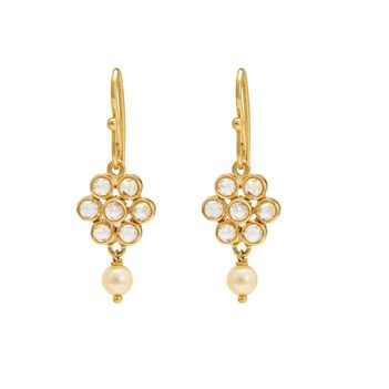 Blossomy Rose-Cut Diamond and Gold Pearl Drops
