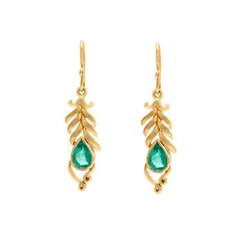 Plumed Emerald and Gold Drops