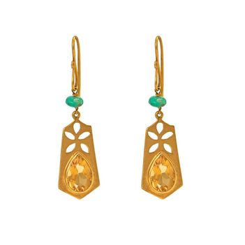 Artistic Citrine and Emerald Bead Earrings in 18K Yellow Gold