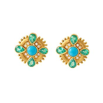 Engaging Emeralds, Turquoise and Diamond Stud Earrings in 18K Yellow Gold