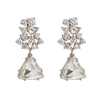 Stellar Earrings with Pear Shaped, Rosecut , Round Brilliant, and Triangular Diamonds