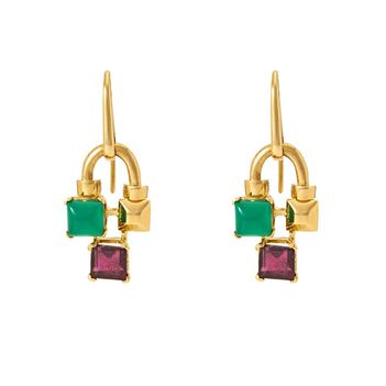 Unorthodox Green Onyx and Garnet Earrings in 18K Gold