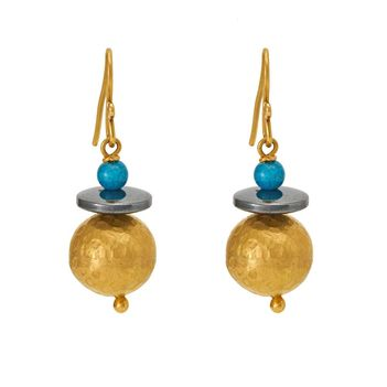Flirty Turquoise Earrings in 18K Yellow Gold