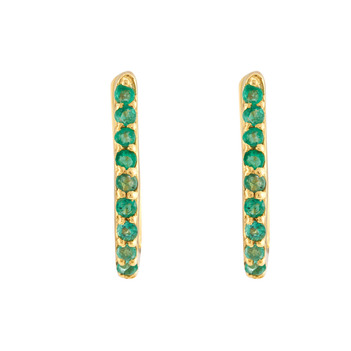 Vibrant Emeralds 18K Gold Hoop Earring