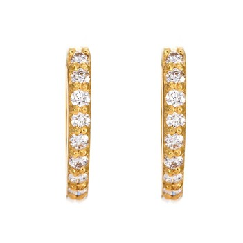Radiant Diamond 18K Gold Hoop Earring
