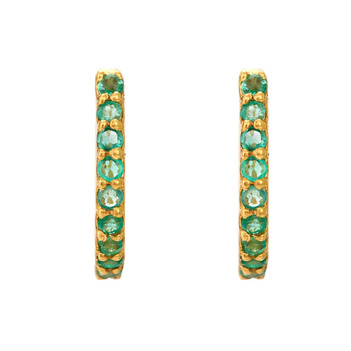 Verdant Emerald 18K Gold Hoop Earring