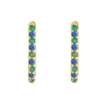 Blue Sapphire & Emerald 18K Gold Oval Hoop Earring