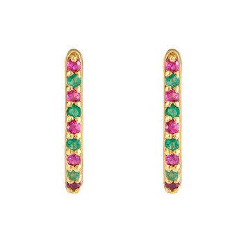 Emerald & Ruby 18K Gold Oval Hoop Earring