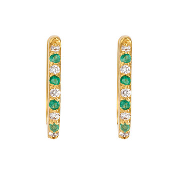 Emerald & Diamond 18K Gold Oval Hoop Earring
