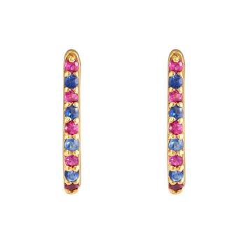 Blue Sapphire & Ruby 18K Gold Oval Hoop Earring