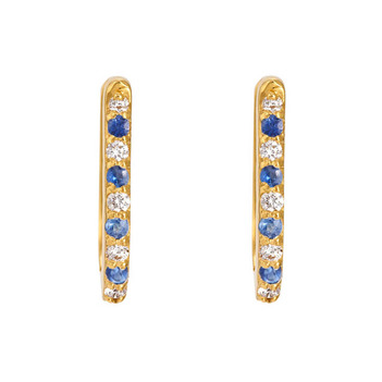 Blue Sapphire & Diamond 18K Gold Oval Hoop Earrings