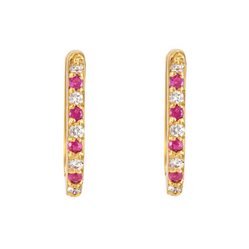 Ruby & Diamond 18K Gold Oval Hoop Earrings
