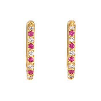 Ruby & Diamond 18K Gold Oval Hoop Earrings