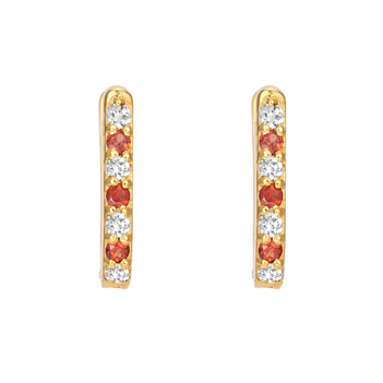 Garnet Diamond 18K Gold Oval Hoop Earring